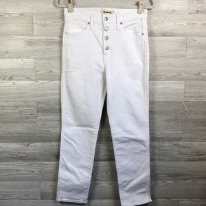 Madewell Stovepipe White Jeans Button Fly